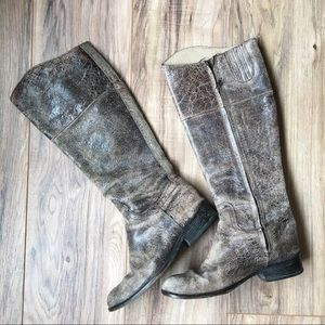 Steve Madden Reins Distressed Leather Knee Boots